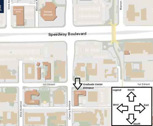 Map of the location of the Graduate Center, located at 1600 E 1st Street, Tucson, Arizona