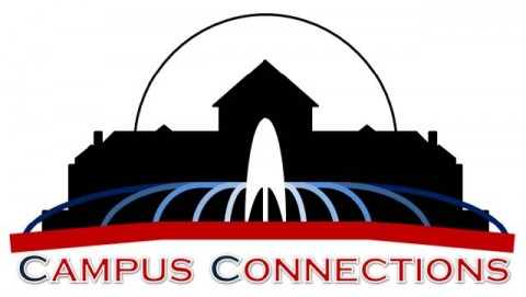Logo of the Campus Connections Program, which looks like an outline of Old Main and the fountain outside of Old Main