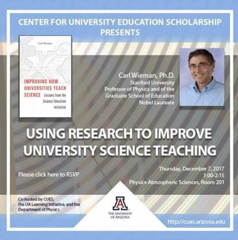 """Poster image for Carl Weiman's talk """"Using Research to Improve University Science Teaching"""""""