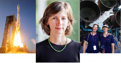 OSIRIS-REx launch, Sarah Sutton, Sarah and her sister Cathy with Saturn V rocket