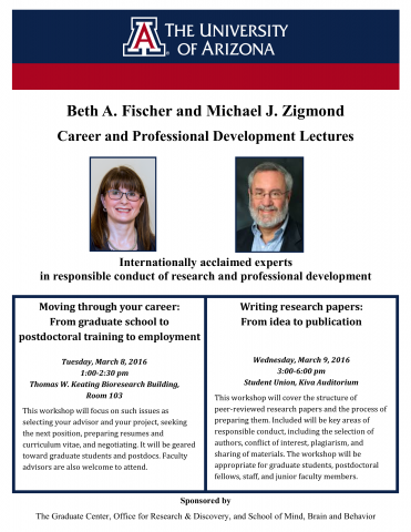 Flier for the Beth Fischer and Michael Zigmond Career and Professional Development Lectures