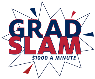 "Grad Slam Logo, which has a starburst image with the text ""Grad Slam $1000 a minute"" on it in red and blue"