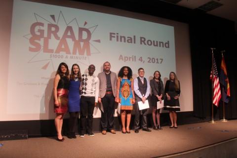 UA Grad Slam Finalists with Masters of Ceremony Jude Udeozor and Meg Lota Brown, PhD