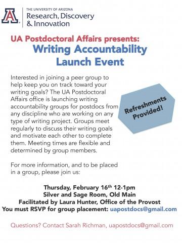 Flier for UA Postdocs Writing Accountability Groups 2017