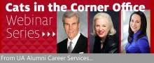 Cats in the Corner Office Banner showing portraits of alumni Terry Lundgren, J.A. Jance, and Laura Miller