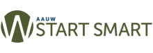 "A green circle with a white W in the middle of it next to the words ""AAUW Start Smart"""