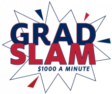 "Grad Slam Logo (a a starburst with the words ""Grad Slam: $1000 a minute"" written on it"