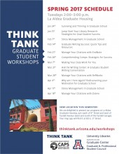 Spring 2017 Think Tank Grad Student Workshop Schedule