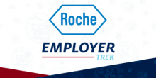 "A hexagon with Roche in the middle followed by the italicized formatted words, ""Employer Trek"""